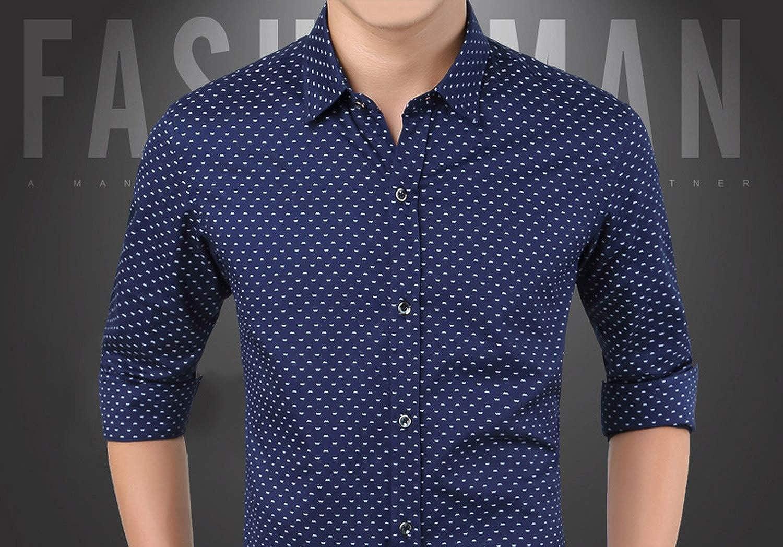 2019 Men Long Sleeve Shirt Men Polka Dot Casual Plus Size M-5XL