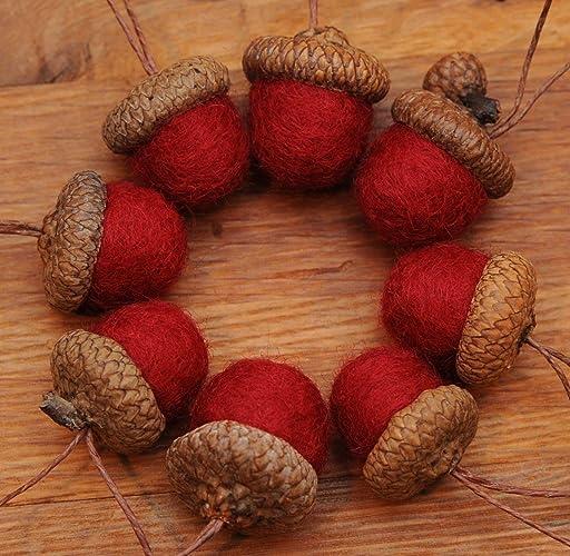 Red Felted Acorns or Acorn Christmas Ornaments - Amazon.com: Red Felted Acorns Or Acorn Christmas Ornaments: Handmade
