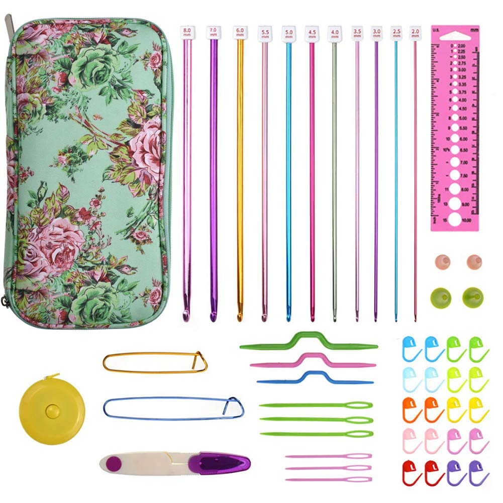 Looen Aluminum Tunisian Crochet Hooks Set Afghan Knitting Needles Kit with Long Case,11pcs 2mm/B-8mm/L Hooks and Necessary Accessories,Gift for Mom (Green)