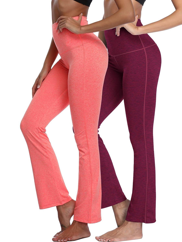 105  Burgundy orange, 2 Pack Neleus High Waist Running Workout Leggings for Yoga with Pockets
