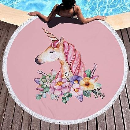 Toalla de playa Arco iris Unicornio Bohemio Hippie Ronda Playa Fringe Flor Mandala Tapiz Mantel redondo