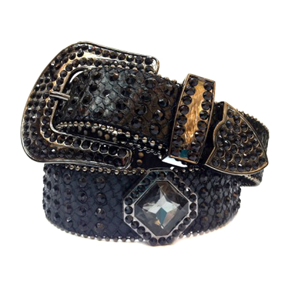 Black Leather Belt in a Crocodile Pattern Decorated in Black Crystals, Size S/M