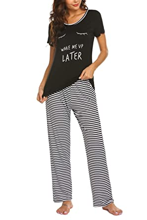 hot sales cc3c7 d029c Balancora Damen Schlafanzug Kurz Sommer Pyjama Kurze Ärmel ...