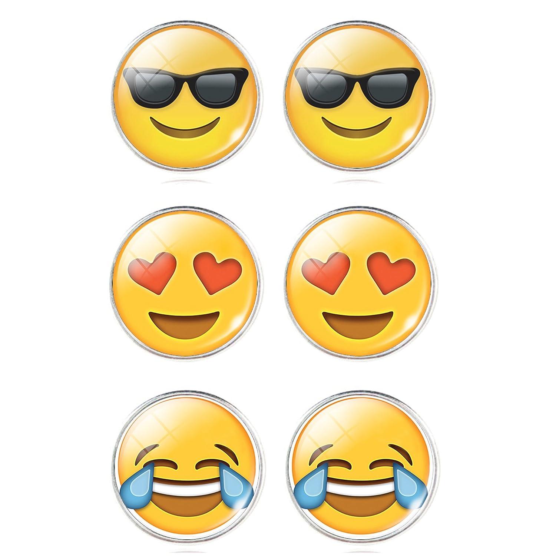 bbc156e65 Amazon.com: Emoji Face Pin-Back Earrings Set - Assorted Smiley Emoticon  Gift Earrings, Emoji Earrings for Girls, Boys, Kids, Adults: Jewelry