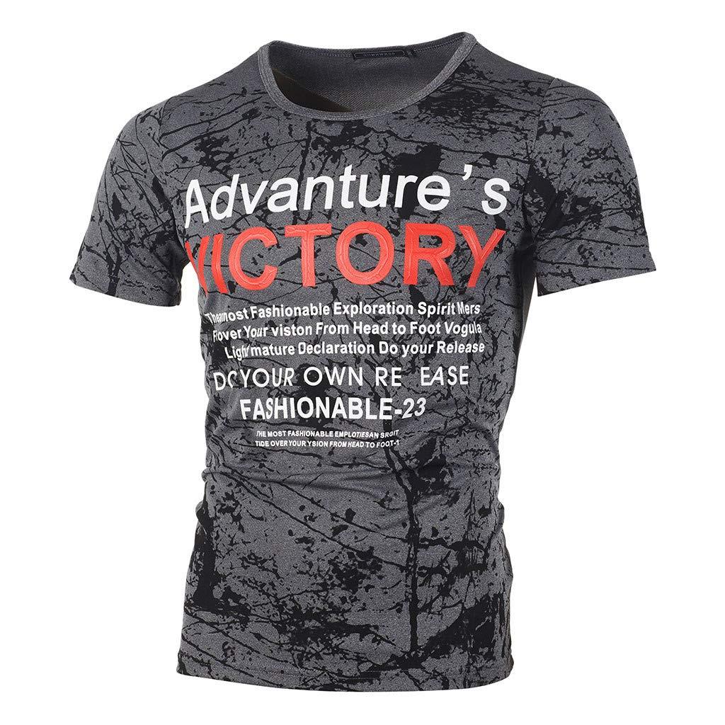 Top for Men, Summer Letter Printed T Shirt Casual Short Sleeve Blouse Slim Fit Tees Vest Beachwear Gray