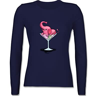 Comic Shirts - Rosa Elefant - Martini - XS - Navy Blau - BCTW013 - Damen