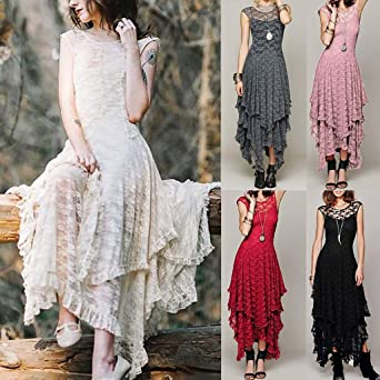MERICAL letnia sukienka damska do kolan długość do kolan kobiety boho nieregularna koronka seksowna podwÓjna warstwa falbanka długa sukienka: Odzież