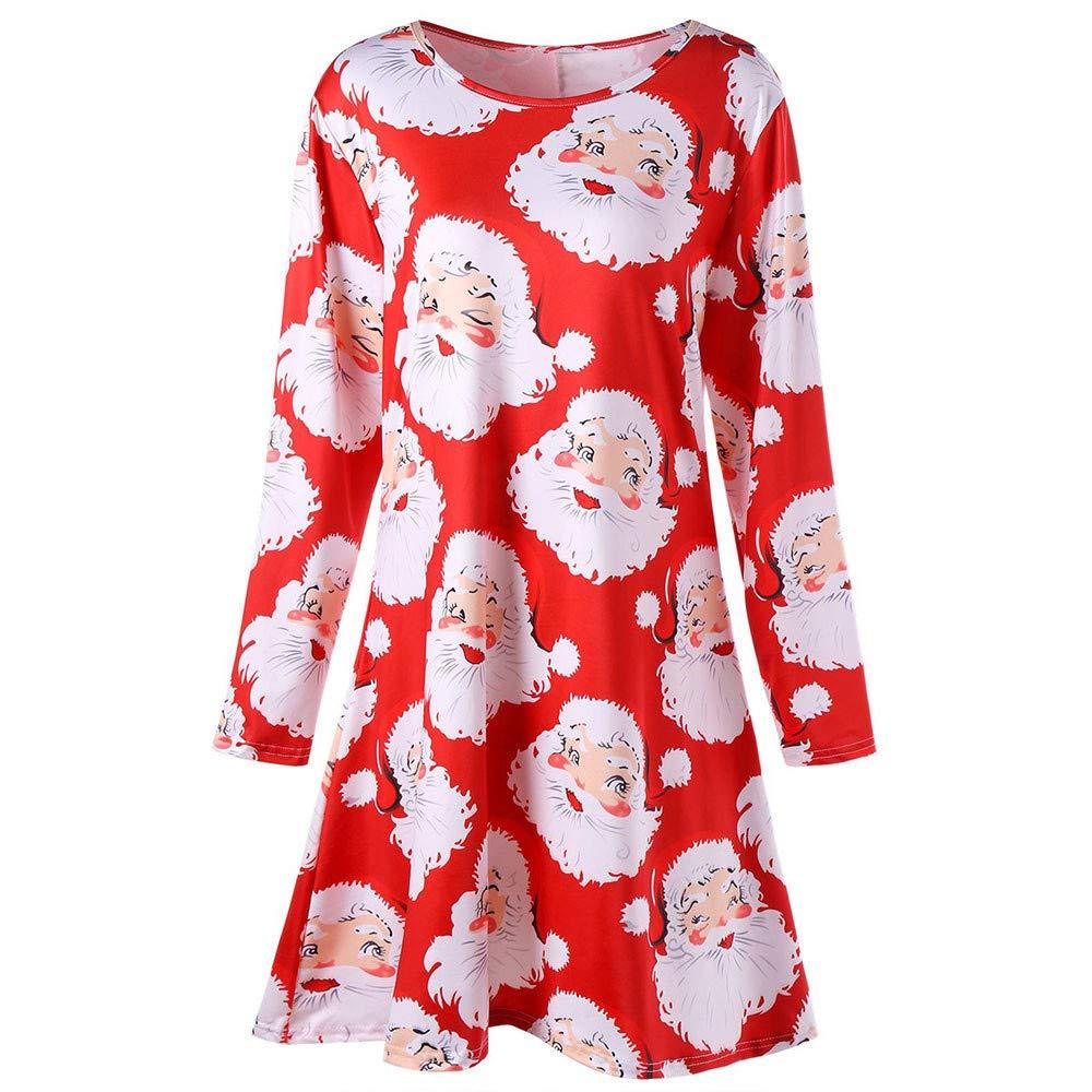 Makulas Women's Christmas Long Sleeve Dress Santa Claus Print Xmas Party Dress Tunic Mini Dress