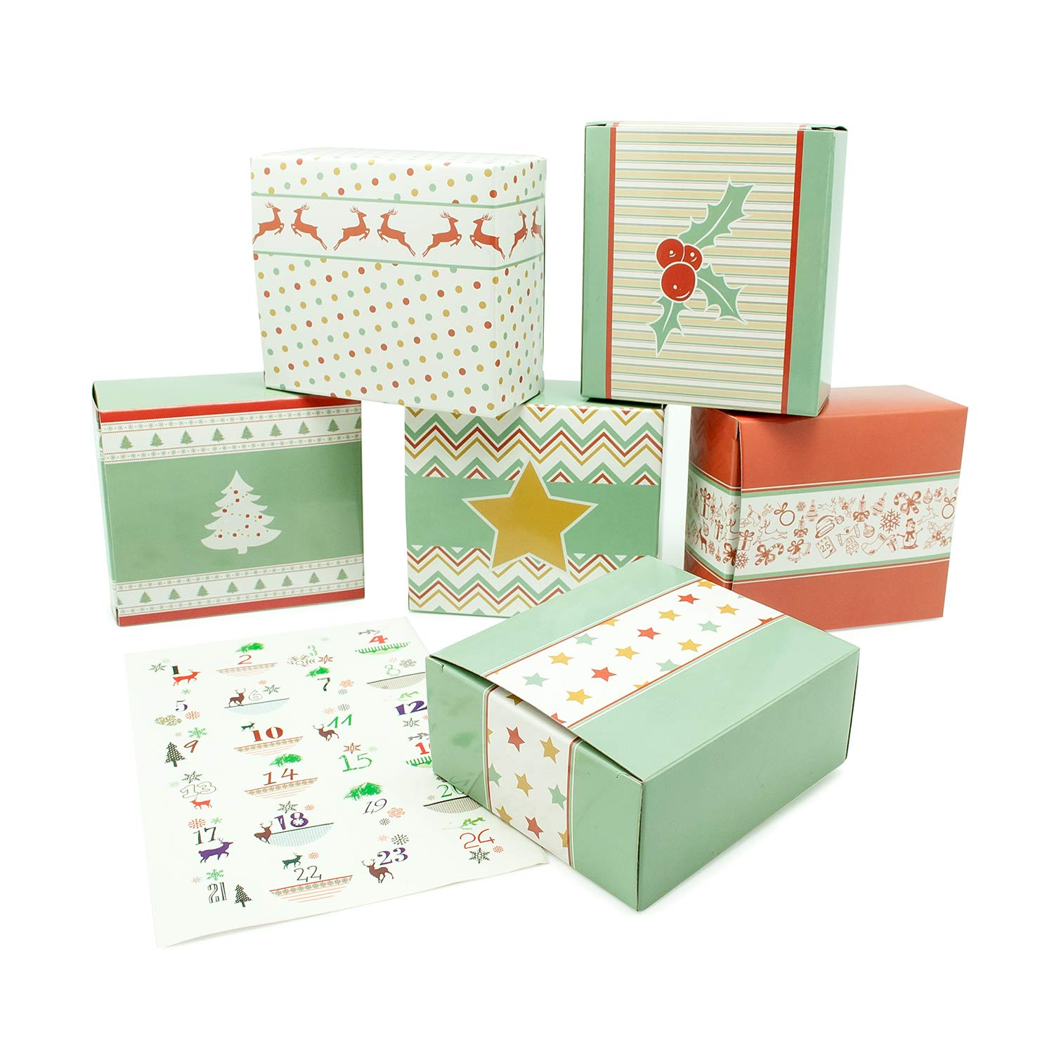 1/x 24/Individually fillable boxes with number stickers DIY Advent calendar