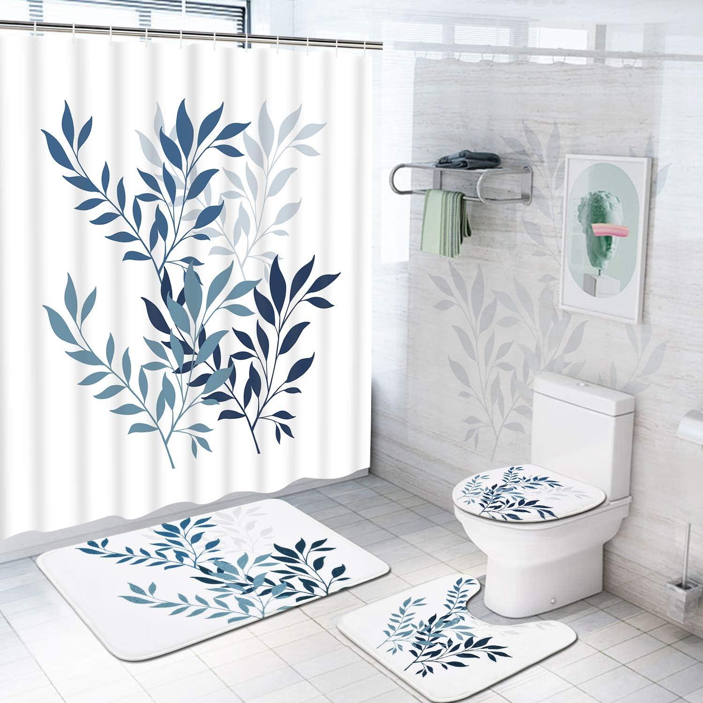 4Pc//Set Loves Bathroom Non-Slip Rug+Lid Toilet Cover+Bath Mat+Shower Curtain