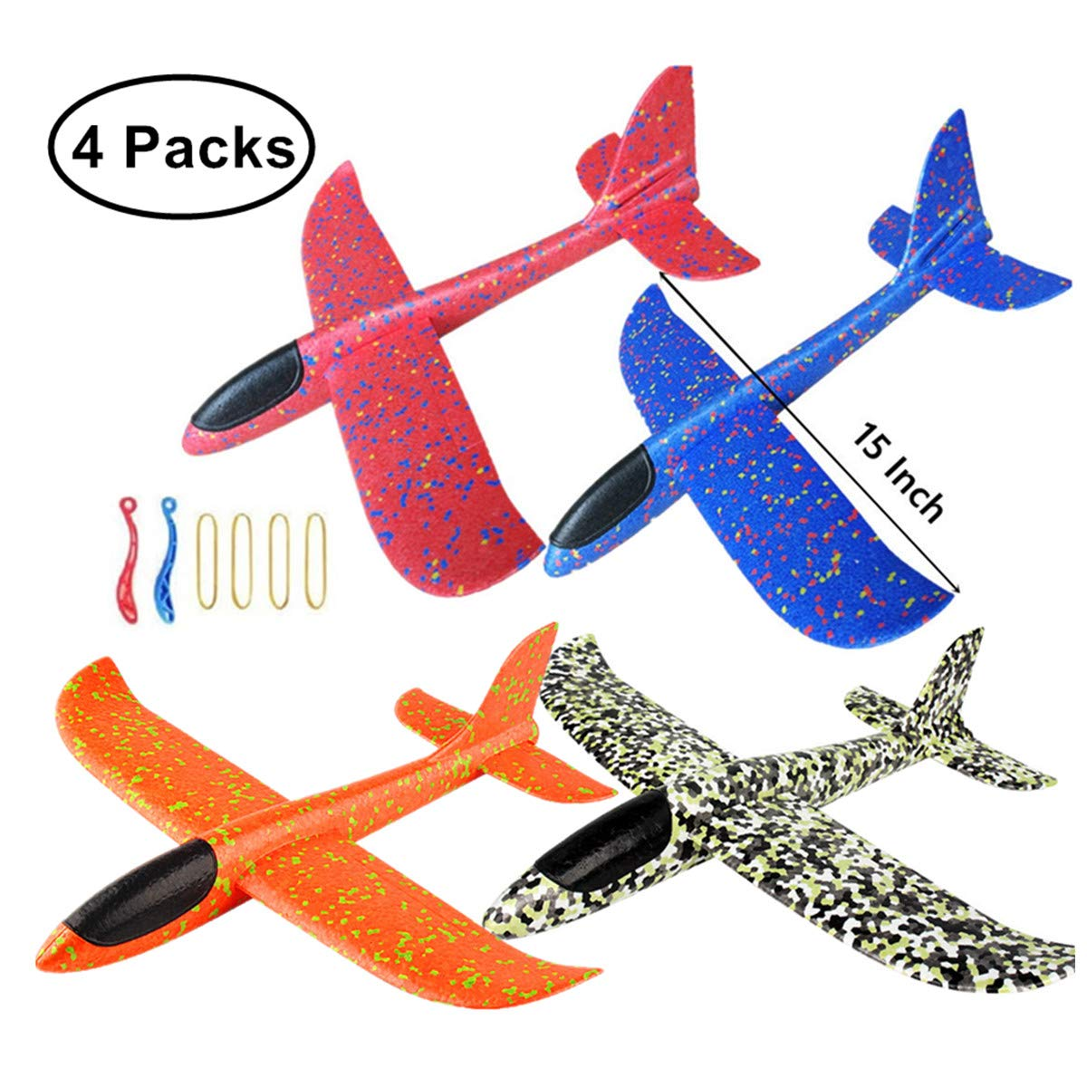 KINGSOO Glider Plane for Kids, 4 Pack 15 inch Glider Airplanes Foam Flying Airplane Kit for Outdoor Sports Garden Yard Playing-Orange+Blue+red+comflag