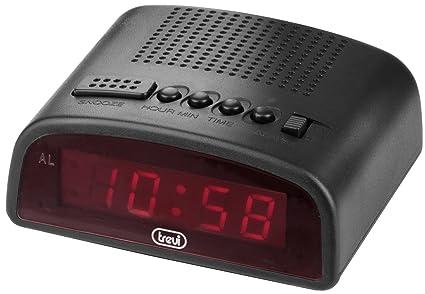 Trevi 875 – Reloj despertador digital compacto con enchufe para conexión a 220V – Color negro