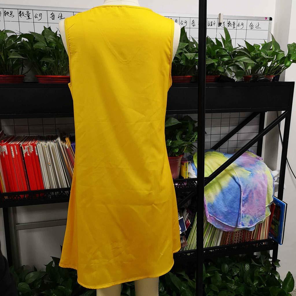 TWGONE Boho Dresses for Women Short Sleeveless Summer Holiday Ladies Pomisi Loose Beach Party Dress