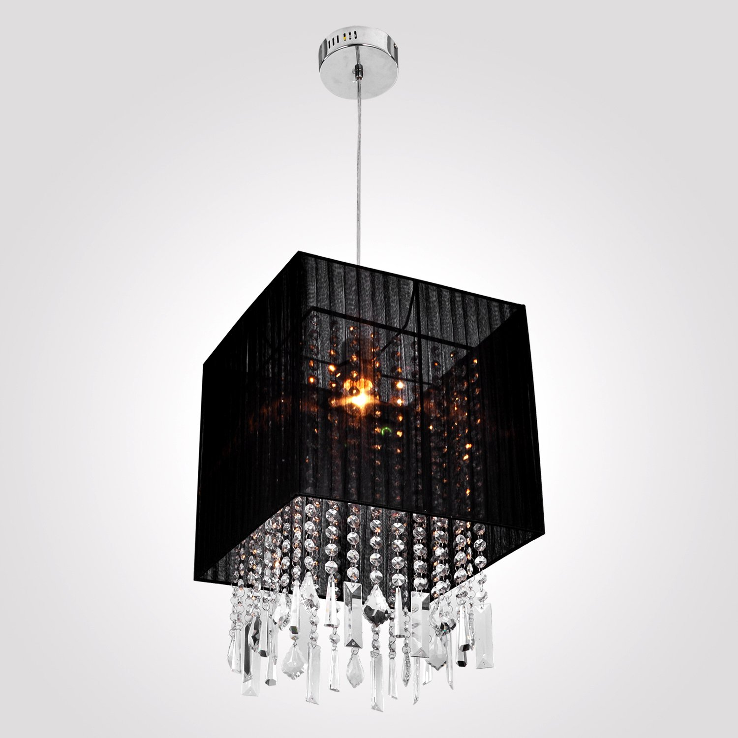 Lightinthebox Stylish Pendant Light With Black Fabric Shade Modern Mini Style Ceiling Fixture For Dining Room Bedroom Living Voltage 110v