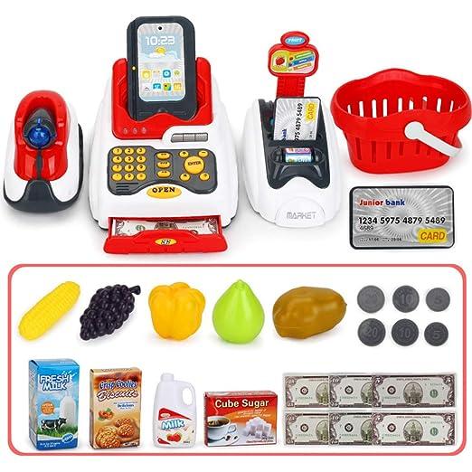 YVSoo 24Pcs Supermarkt Spielzeug Supermarktkasse mit Scanner Kinderspiel, Kinderkasse Registrierkasse Kreditkartenleser Spiel
