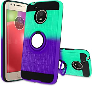 Atump Moto E4 Case, Moto E4 Phone Case with HD Screen Protector, 360 Degree Rotating Ring Holder Kickstand Bracket Cover Phone Case for Motorola E (4th Generation)/ Moto E4 Mint/Purple