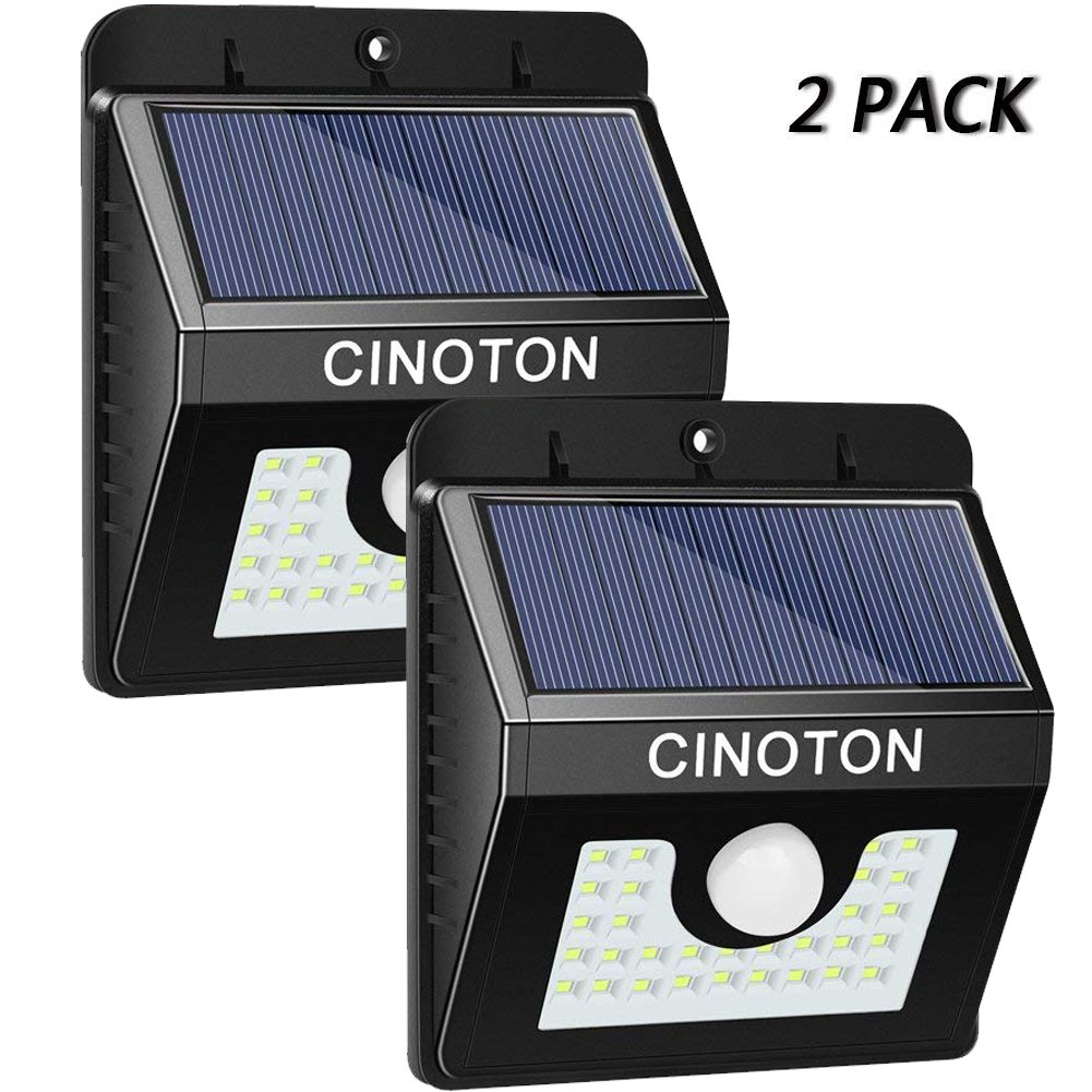 Cinoton Solar Security Lights, 30LED 3 Modes Solar Wall Lights Sensor Motion Lights Outdoor Waterproof Bright Lights for Garden, Fence, Stairs, Yard Or Driveway (30LED-1 Pack)