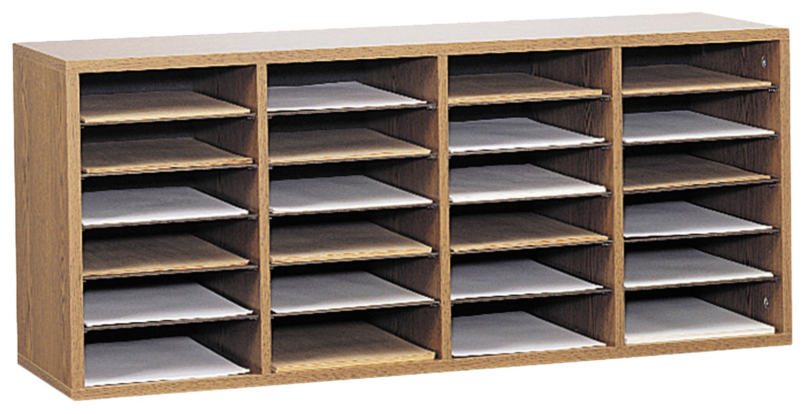 Safco Products Wood Adjustable Literature Organizer, 24 Compartment, 9423MO, Medium Oak, Durable Construction, Removable Shelves, Stackable