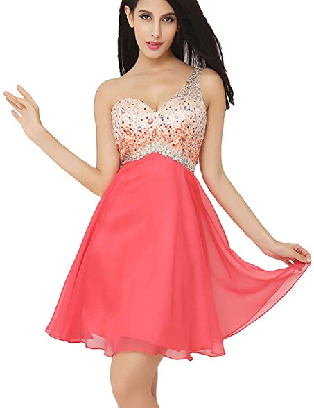 Amazon Belle House One Shoulder Homecoming Dress With Beadings