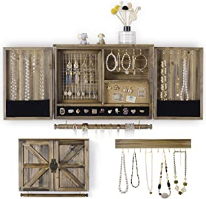 ikkle Rustic Jewelry Organizer Wall Mounted Jewelry holderwith Wooden Barn Door for Necklaces Earings Bracelets Ring Holder, with Removable Bracelet Rod Includes Hook Organizer for Hanging Jewelry