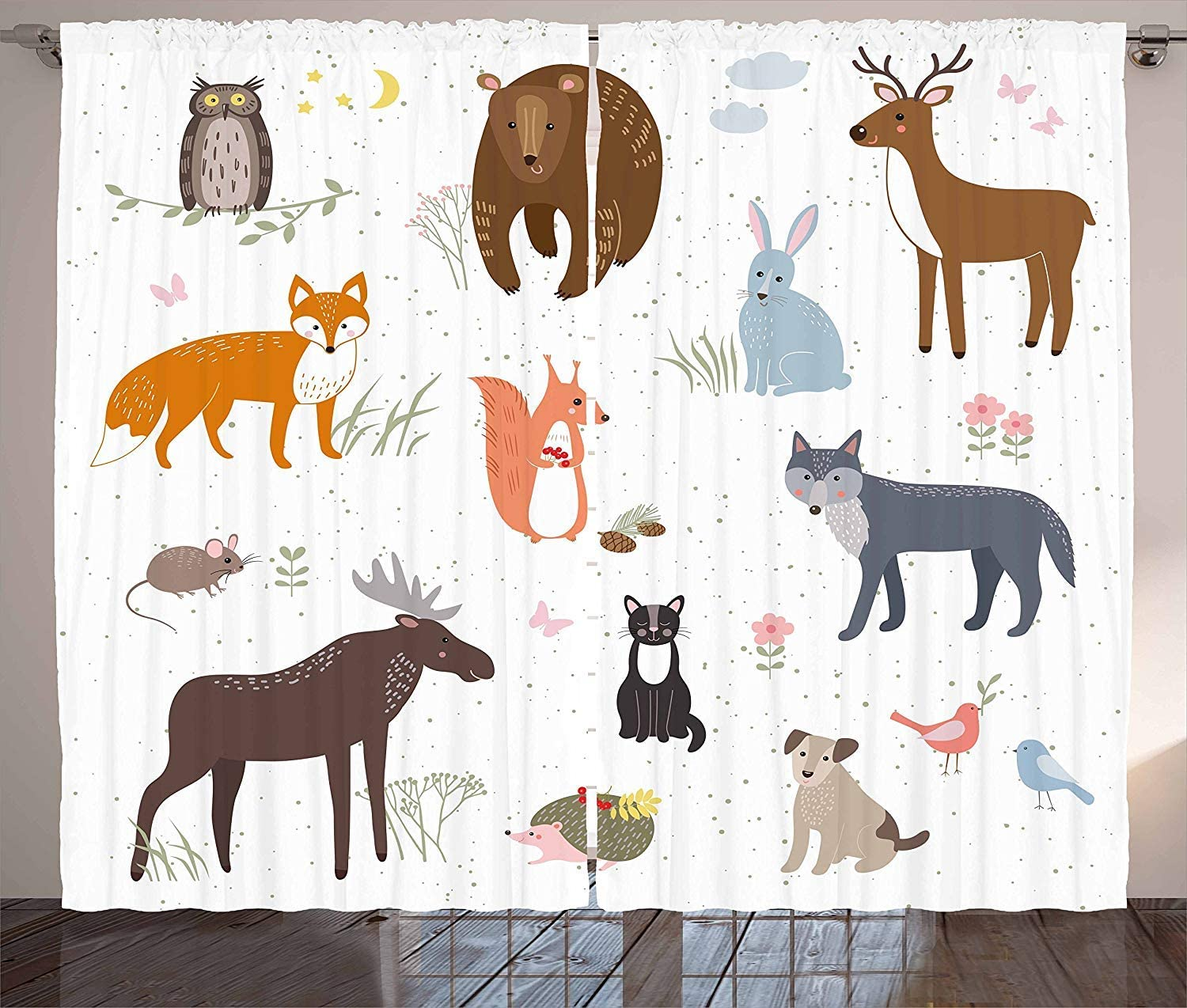 FAFANIQ Cabin Curtains Living Room Bedroom Window Drapes 2 Panel Set Animals in The Springtime Meadow Childish Woodland Fauna Kids Baby Room Nursery Brown White,57 * 47 inch