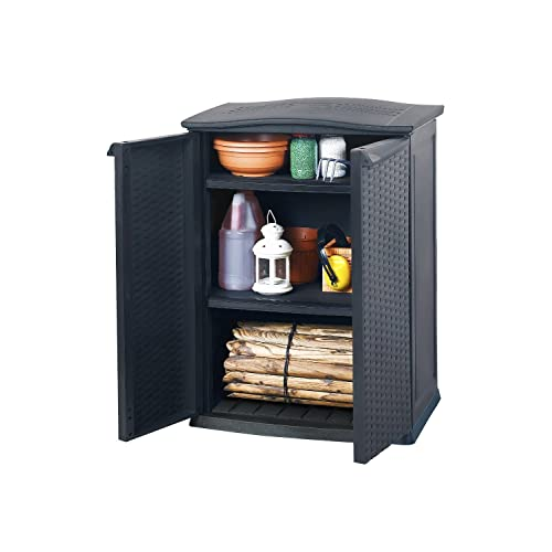 Keter/chalet et jardin 12ARMOIREBASSE AN-Armoire basse RATTAN anthracite