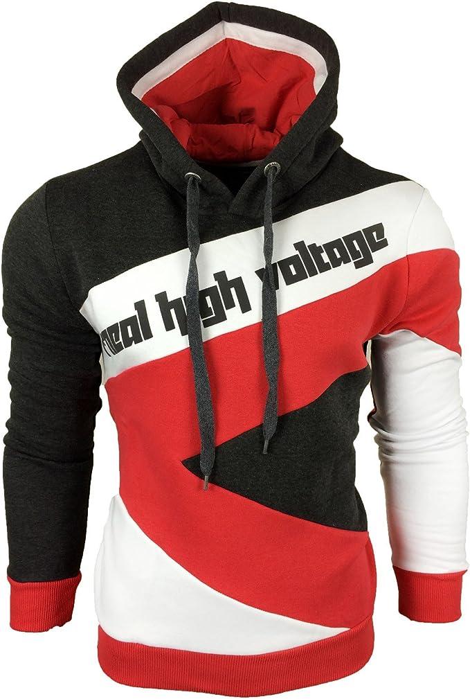 R Neal Herren Hoodie Pullover Kapuze Hoody High Voltage Gestreift Style Kontrast