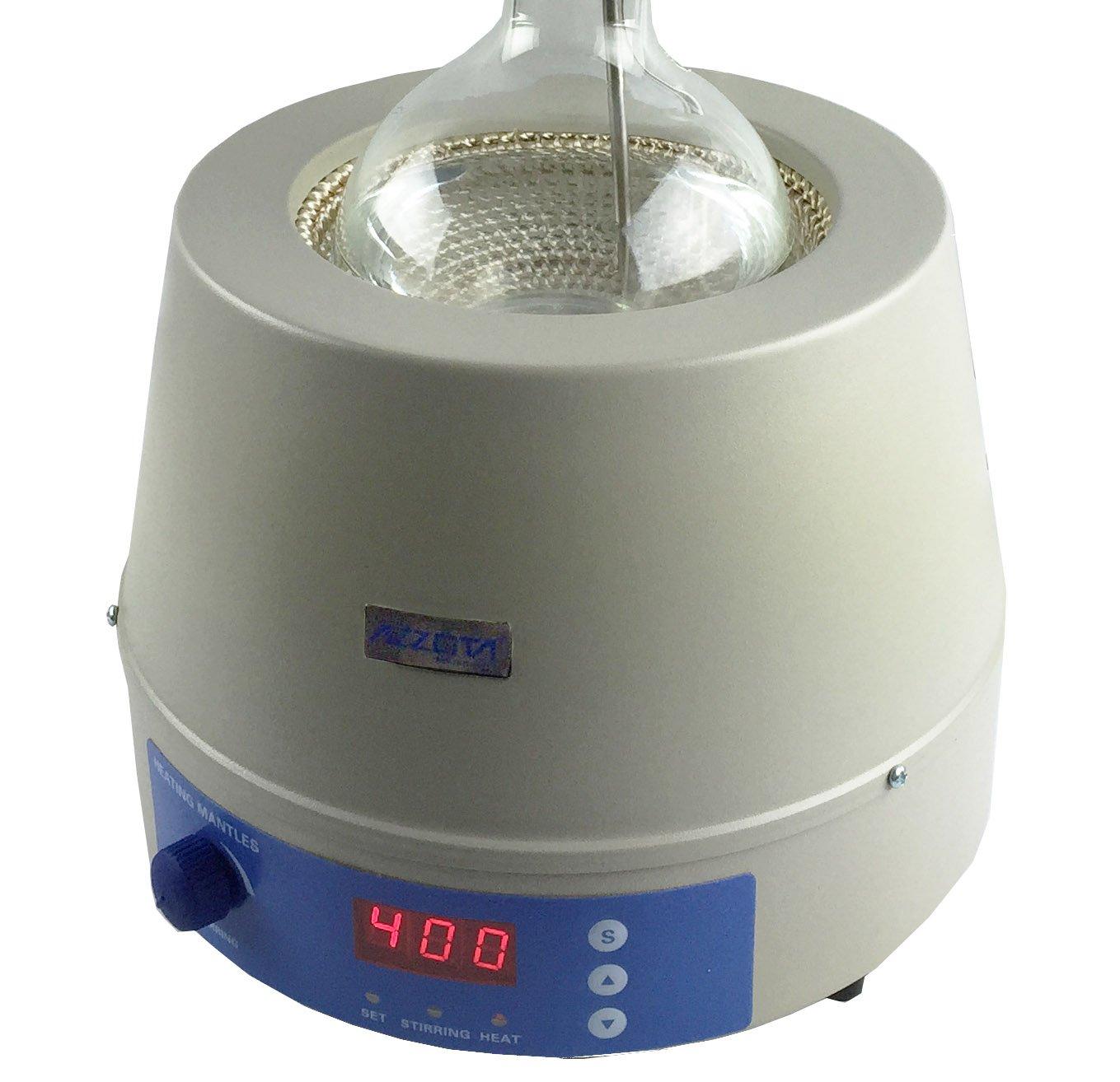 752 F 500ml 400C Azzota Digital Stirring Heating Mantle with Temp Probe 250W Stir Speed: 0 to 1400rpm