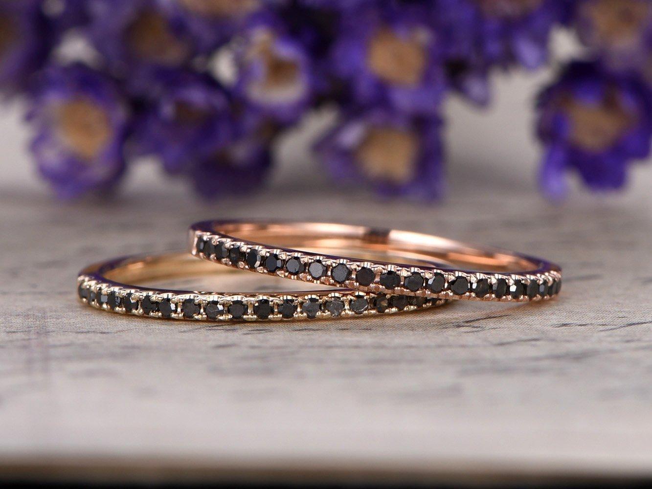 2pcs Natural Black Diamond Wedding Band Set Solid 14k Rose Gold Half Eternity Engagement Ring Bridal Anniversary Stacking Band Matching Thin Stackable Promise Sets
