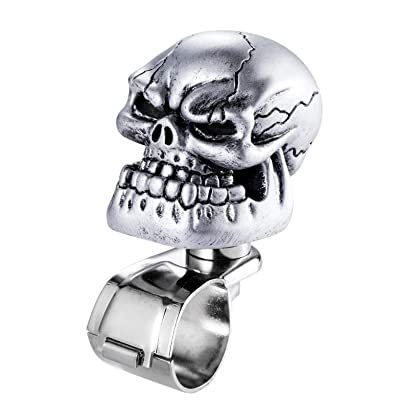 Arenbel Skull Steering Wheel Knob Spinner Car Grip Suicide Control Handle Knobs Turning Aid fit Most Vehicle/Truck, Silver: Automotive