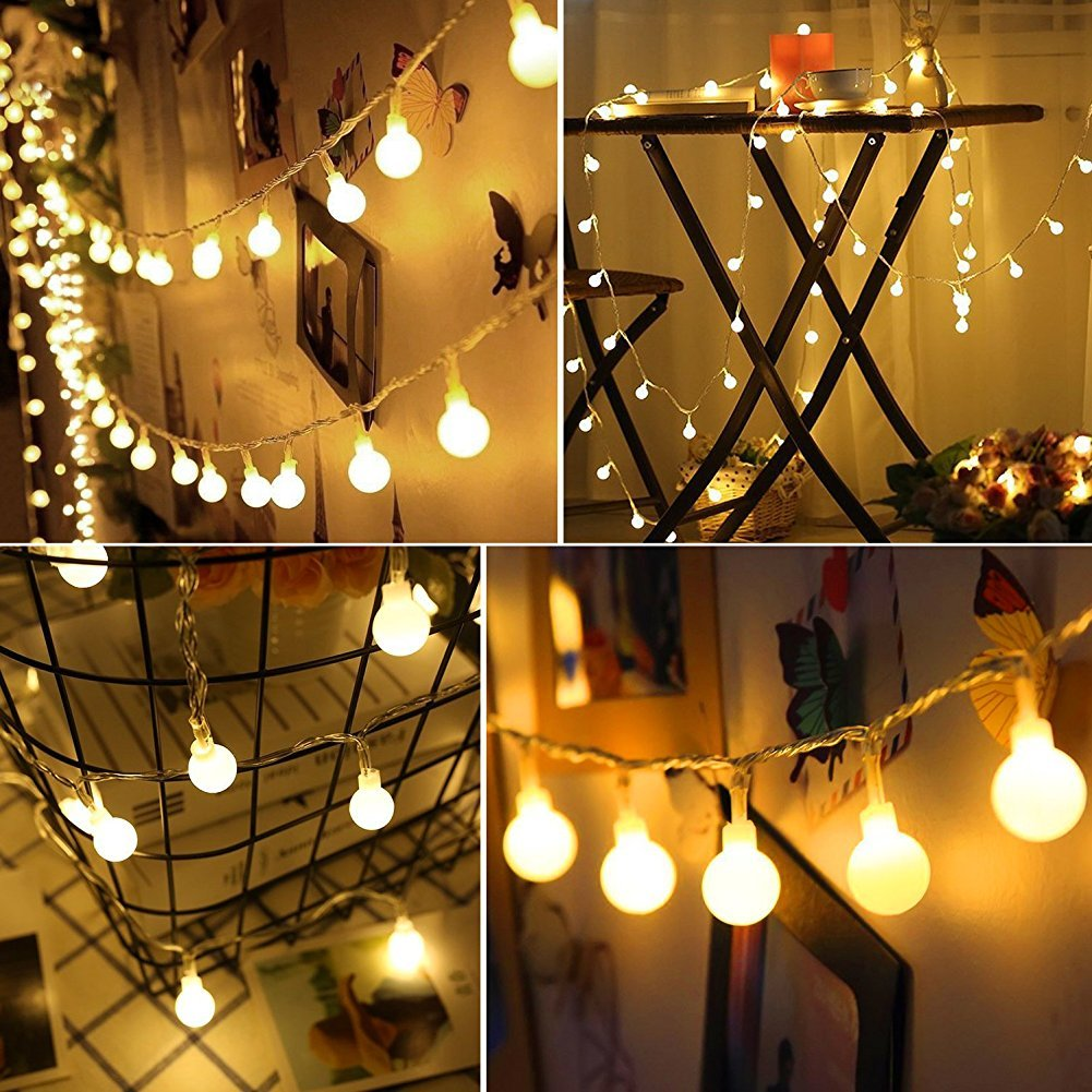 Amazon.com : 100 Leds 32 Feet Globe String Lights, Battery Operated ...