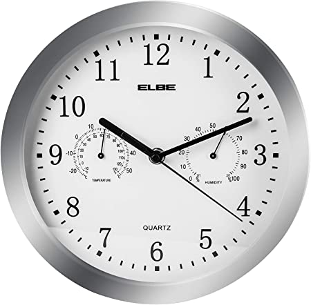 Elbe RP 3005 9 Reloj de pared con termómetro e higrómetro, mide temperatura y humedad, 25 cm diámetro, panel blanco marco plata, funciona con pilas,