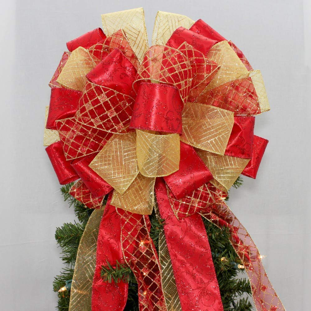 Red Gold Harlequin Swirl Christmas Tree Topper Bow - 13