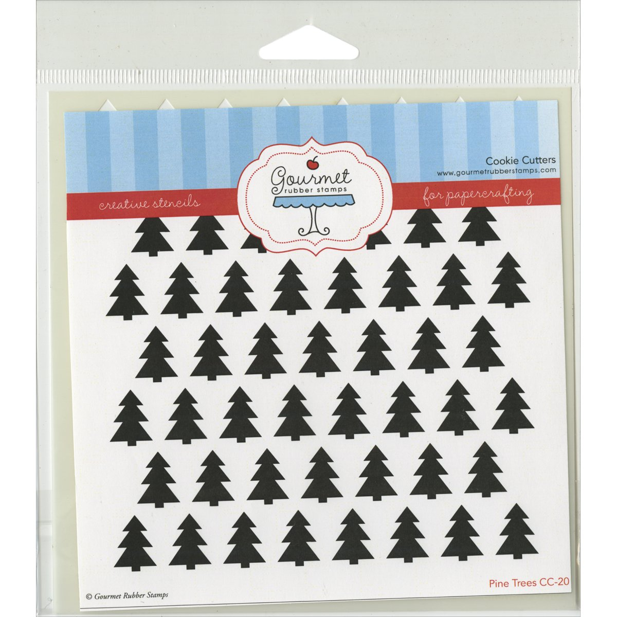 6 x 6 GRS-ST-CC20 Gourmet Rubber Stamps Pine Trees Stencil
