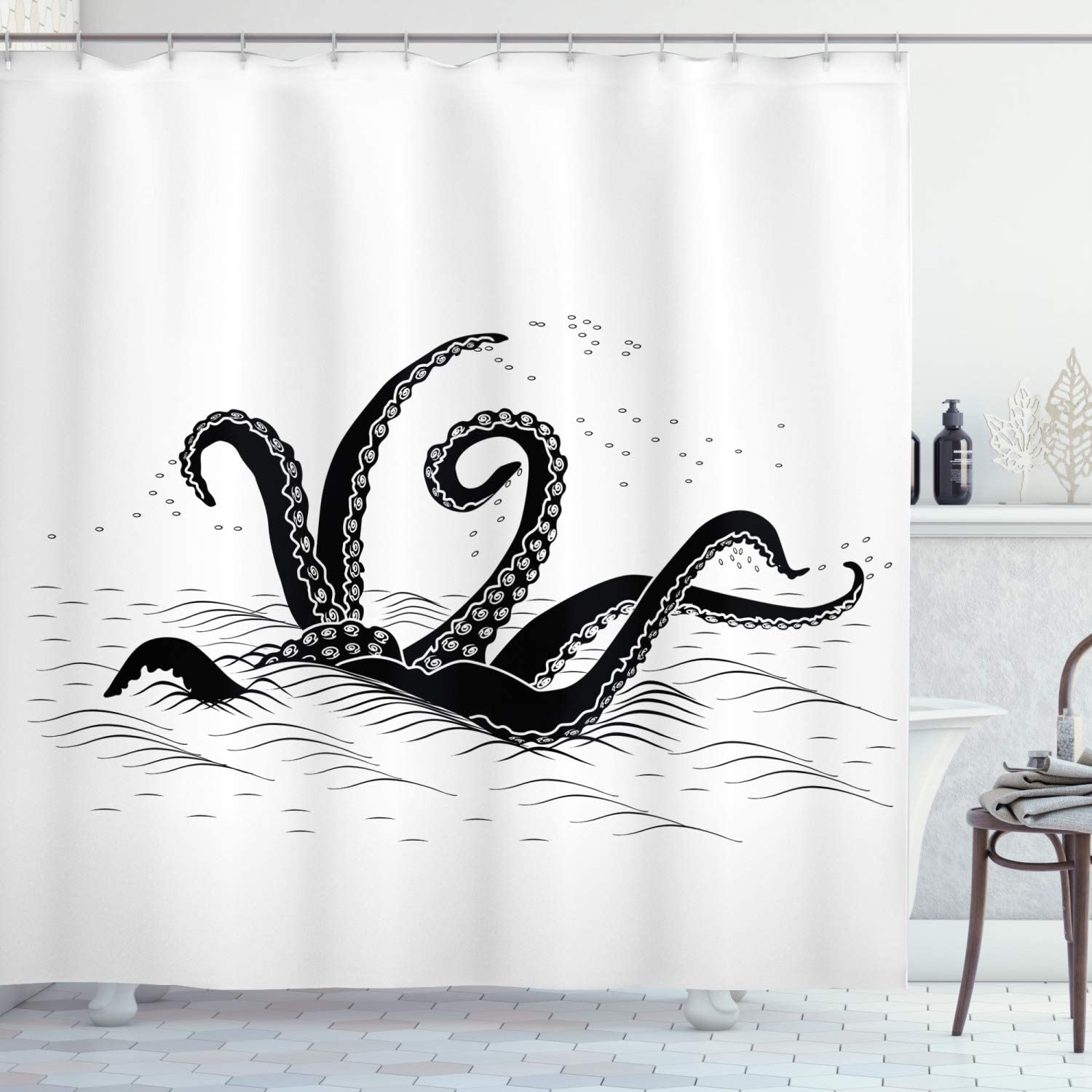 Ambesonne Octopus Shower Curtain, Mythological Kraken Octopus Tentacles Monster in The Sea Illustration Nautical, Cloth Fabric Bathroom Decor Set with Hooks, 75