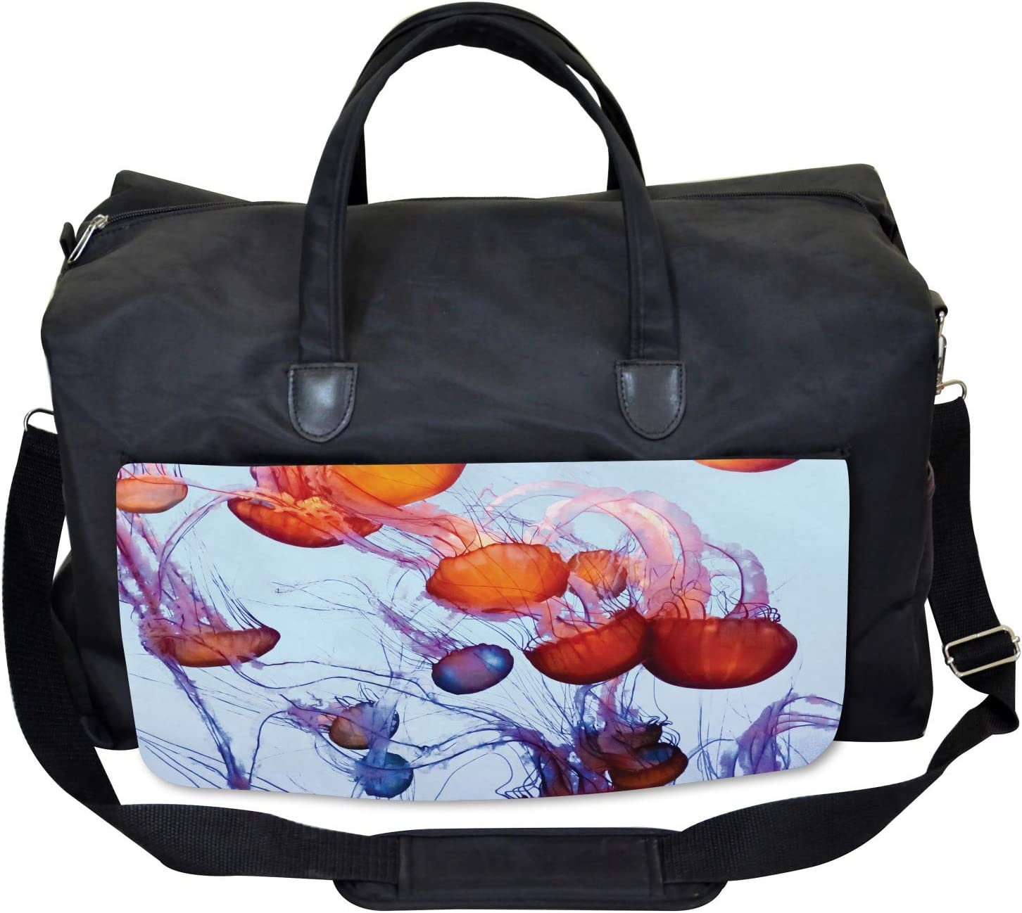 Ambesonne Nautical Gym Bag Large Weekender Carry-on Jellyfish in the Ocean