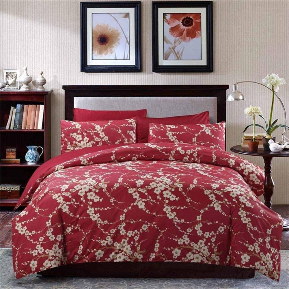 SexyTown Floral Branches Print Duvet Quilt Cover Japanese Oriental Style Cherry Red Blossom Reversible Floral Bedding Set Cal King Pattern N
