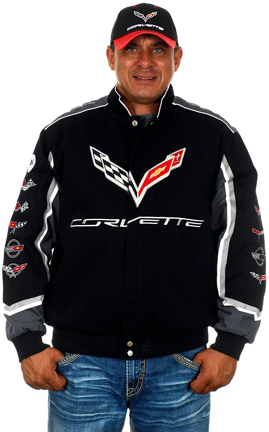 JH DESIGN GROUP Mens Chevy Corvette Jacket Embroidered Cotton Twill in 2 Colors COR303CLG7