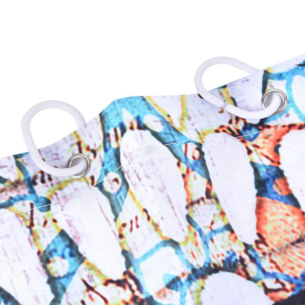 Reinefleur Rideau de Douche Imperm/éable Anti-moisissure Etanche Polyester Imprim/ée Tortue Plante Oc/éan Rideau Salle de Bain 180x180 cm avec 12 Crochets