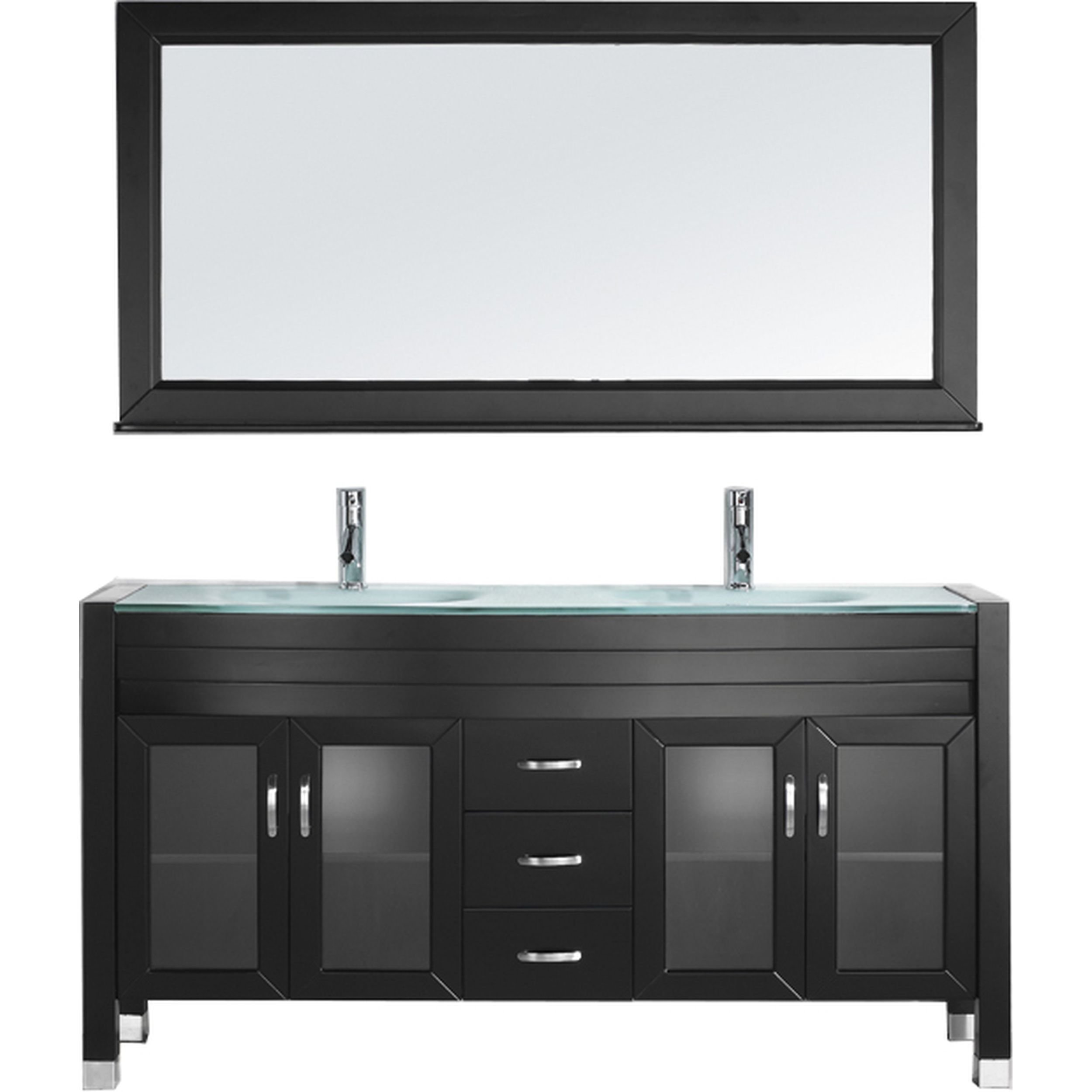 Virtu USA MD-499-G-ES Ava 63-Inch Double Sink Bathroom Vanity Set with Shelf, Faucets and Integrated Glass Basins, Espresso Finish