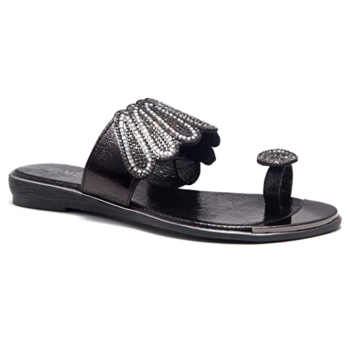 a6bc8052b Herstyle Showstopper Womens Rhinestone Bohemian Slip On Flip Flops Shoes  Strap Gladiator Toe Loop Flat Sandals