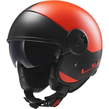 LS2 of597 Cabrio través Open Face Casco de Moto Jet Casco con Visera Interior – Mate