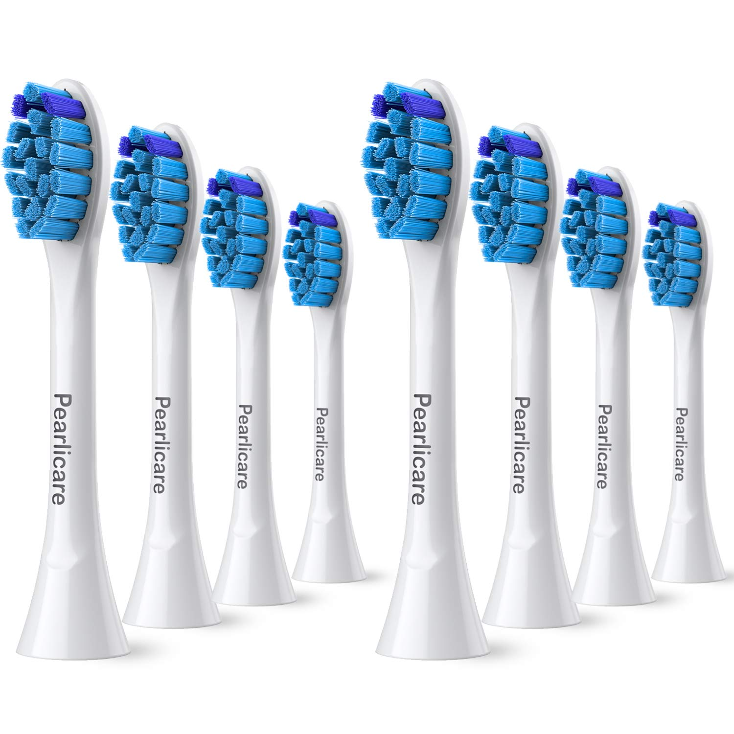 Pearlicare Replacement Brush Heads (8 Pack) - Compatible With Phillips Sonicare Gum Health Electric Toothbrush, 2 Series, 3 Series, Flexcare, DiamondClean, Plaque Control, ProResults, HealthyWhite
