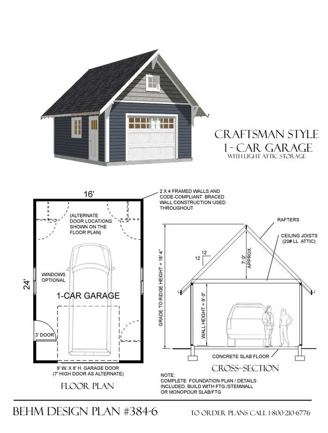 Amazon Garage Plans 1 Car Craftsman Style Garage Plan With