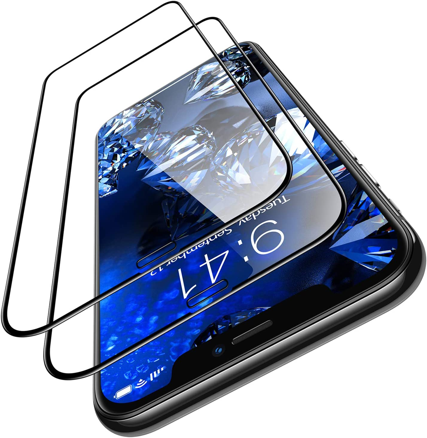 TORRAS Diamonds Hard Designed for iPhone 11 Pro Max Screen Protector [Military Grade Shatterproof] iPhone Xs Max Screen Protector, Clear Shockproof Tempered Glass Film Designed for Apple 6.5''-2 Pack