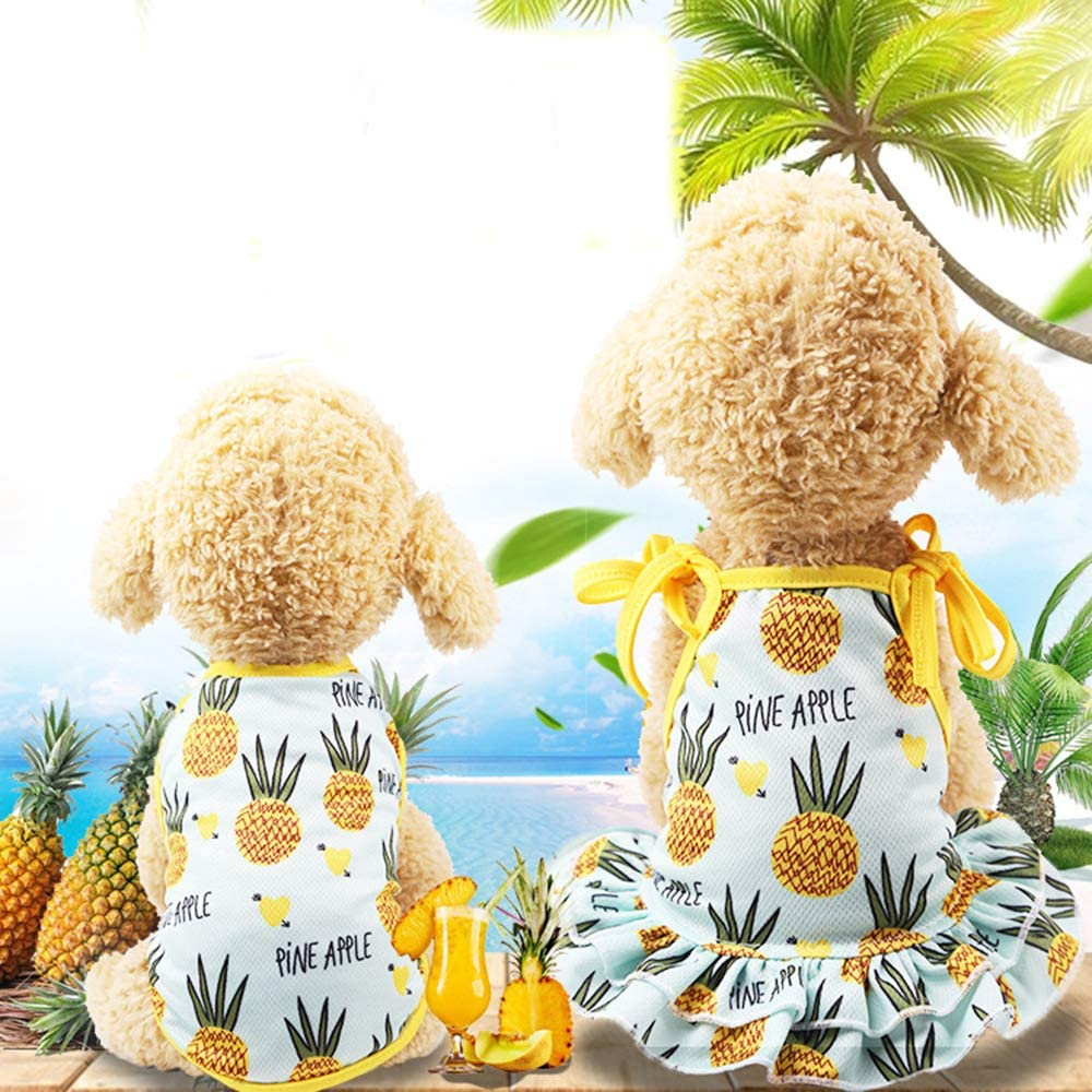 M-Back Length 30cm, Pineapple Skirt BBEART Pet Clothes,Lovely Summer Fruit Dog T-Shirt Puppy Clothes Dog Skirt Dress Cats Clothes for Small Dogs Cats Puppy