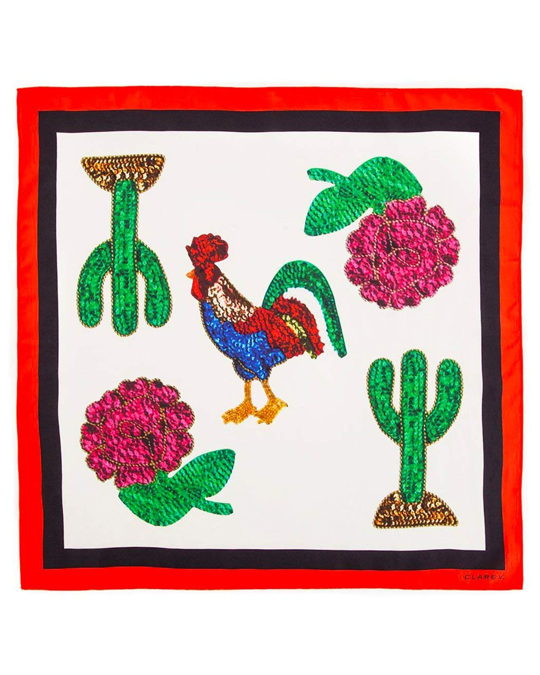 Clarev V. Rooster Print Silk Scarf, White by Unknown