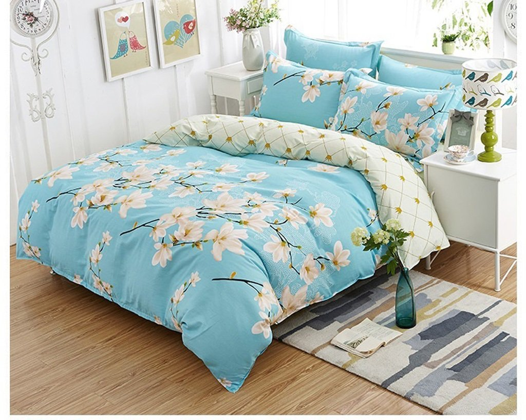 Hyun times Cotton Four-piece Bedding Rural Cotton Bed Sheet Quilt Cover 4 Sets (white Magnolia Flower) Bed 4 Sets Of Bedding