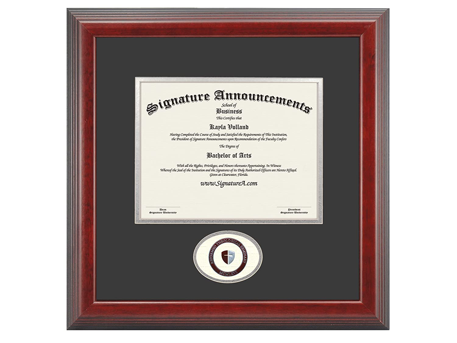 Signature Announcements Reformed Theological Seminary Sculpted Foil Seal Graduation Diploma Frame 16 x 16 Cherry
