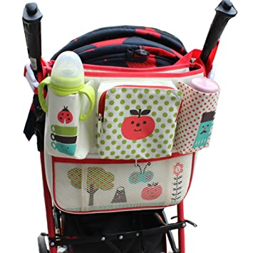 02847f7947 ZEAMO Universal Stroller Zipper Organizer Bag& 2 Cup Holders with Mesh  Pocket for Travel Baby Pram